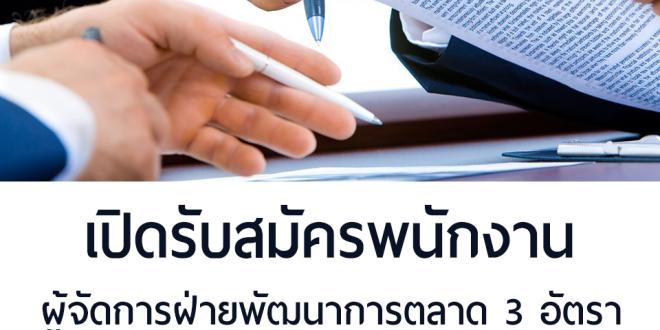 รับสมัครพนักงาน ผู้จัดการฝ่ายพัฒนาการตลาด 3 อัตรา (รับด่วน)